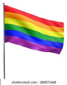 Shot in studio Gay Pride Flag
