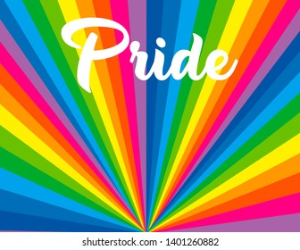 Gay pride lettering on a brightly coloured rainbow spectrum burst flag background. Homosexuality emblem. LGBT rights concept. Modern parades poster, placard, invitation card design.