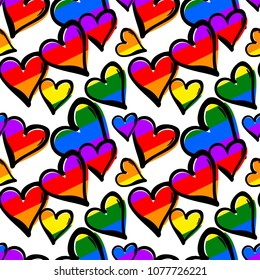 Gay pride rainbow colored hearts seamless pattern.Hand rawn ink brush strokes design in doodle grunge style.Modern painted artistic print for a logo, cards, invitations, posters, banners.