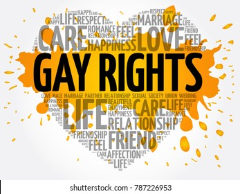Gay rights word cloud collage, heart concept background