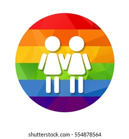 Gay women couple and ring rainbow frame isolated on white background. LGBT couple symbol. Design element for flyers or banners.