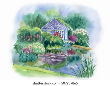 Gazebo In The Garden Pond Watercolor Landscape With And