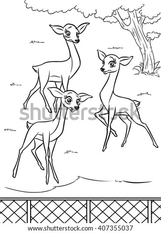 Gazelle Three Animals Zoo Enclosure Coloring Pages