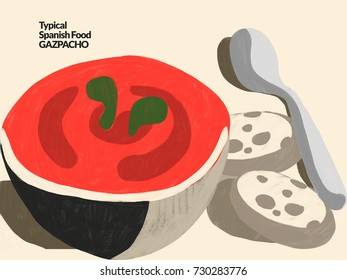 Gazpacho. Typical spanish food. Illustration depicting a bowl of traditional Spanish gazpacho. Traditional Spanish Mediterranean food, dishes and recipes. Colorful conceptual illustration. Cold soup.