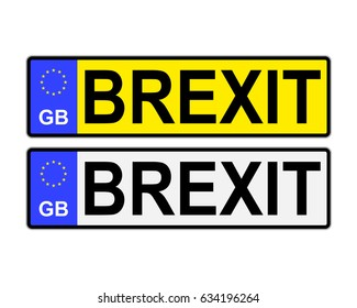 GB number plates with Brexit text