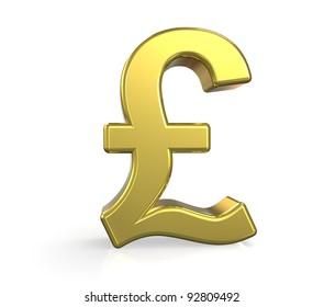 GBP. 3D British Pound symbol. Gold. Ground reflection