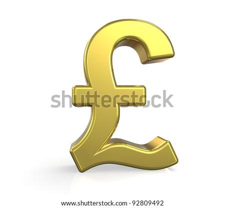 Gbp 3 D British Pound Symbol Gold Stock Illustration 92809492