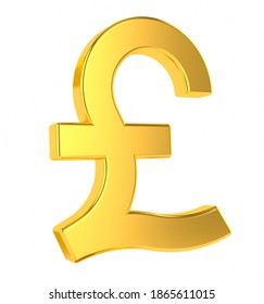 GBP sign. 3d golden british pound symbol isolated on white background. 3d rendering