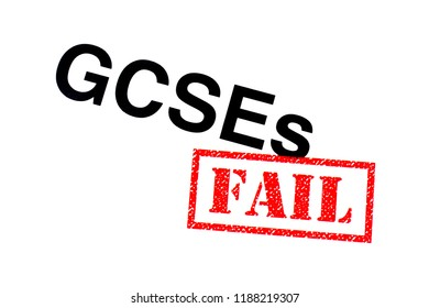A GCSEs heading stamped with a red FAIL rubber stamp.