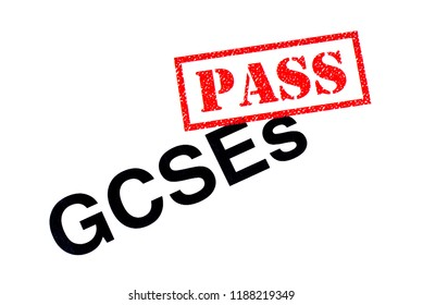 A GCSEs heading stamped with a red PASS rubber stamp.