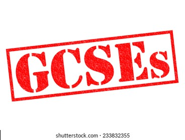 GCSEs red Rubber Stamp over a white background.