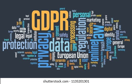 GDPR concept - General Data Protection Regulation. Data protection and privacy in European Union. Word cloud.