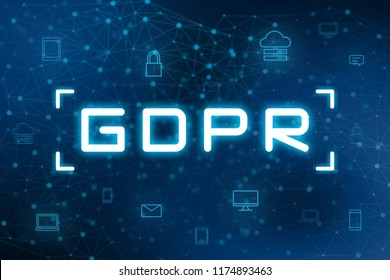 GDPR with digital icon and blue futuristic technology background