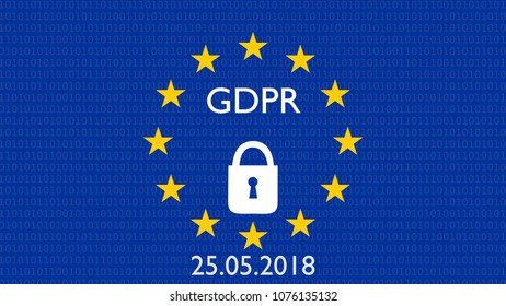 GDPR, DSGVO general data protection regulation concept. 3D rendering, variant with locked lock European flag and 25.05.2018