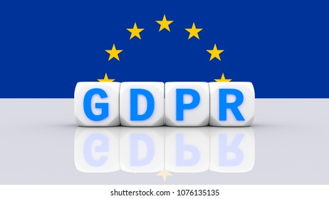 GDPR, DSGVO general data protection regulation concept. 3D rendering, European flag with dices blue variant