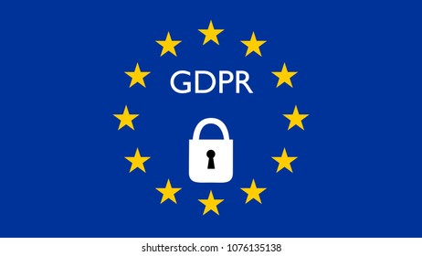 GDPR, DSGVO general data protection regulation concept. 3D rendering, variant with locked lock and European flag