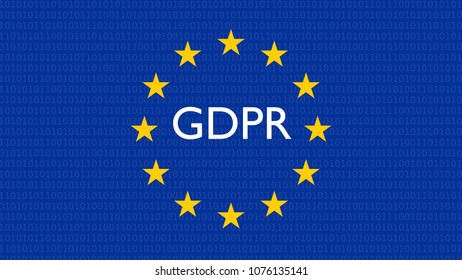 GDPR, DSGVO general data protection regulation concept. 3D rendering, European flag only