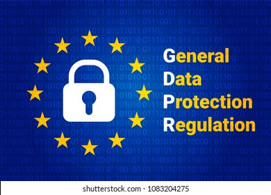 GDPR - General Data Protection Regulation. Text: Are you ready for GDPR. EU flag.  illustration