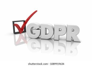 GDPR General Data Protection Regulation Check Mark Box 3d Render Illustration
