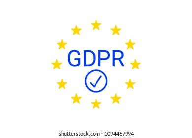 GDPR - General Data Protection Regulation. GDPR compliance symbol.  illustration