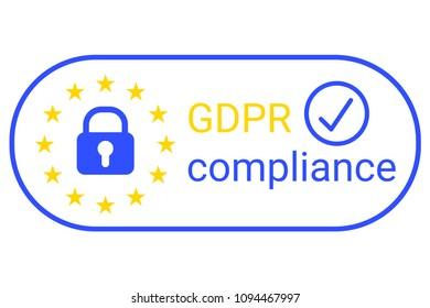 GDPR - General Data Protection Regulation. GDPR compilance logo.  illustration