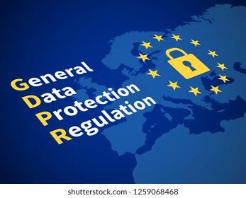 Gdpr general data protection regulation. Eu computer safeguard regulations and data encryption concept
