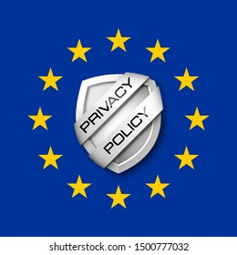 GDPR General Data Protection Regulation EU shield. Gdpr badge internet business guard shield. Safety badge color icon. Security label. Defense safeguard tag. Privacy policy protect sticker shape icon