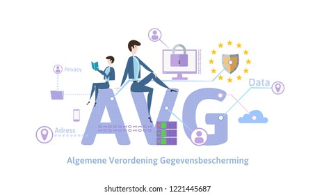 GDPR in Netherlands. Algemene verordening gegevensbescherming. People sitting on big AVG letters with internet security symbols around. GDPR, AVG, DPO. Flat illustration. Horizontal. Raster version.