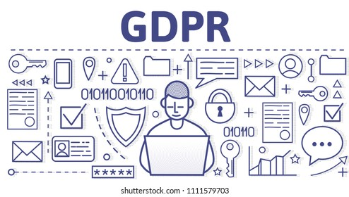 GDPR, RGPD, DSGGVO concept illustration. General Data Protection Regulation. The protection of personal data. Design template of website header, banner or poster. Raster version.