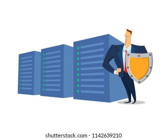 GDPR, RGPD, DSGVO concept illustration. General Data Protection Regulation. The protection of personal data. Server and security guard, isolated on white background. Raster version.