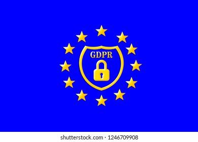 gdpr sign symbol on blue background