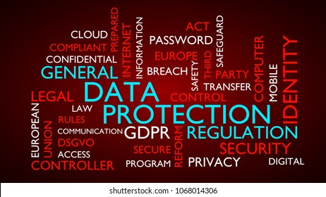 GDRP, genral data protection regulation word tag cloud. 3D rendering, red variant.