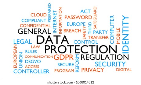GDRP, genral data protection regulation word tag cloud. 3D rendering, white variant.