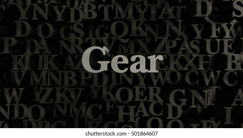 Gear - 3D rendered metallic typeset headline illustration.  Can be used for an online banner ad or a print postcard.