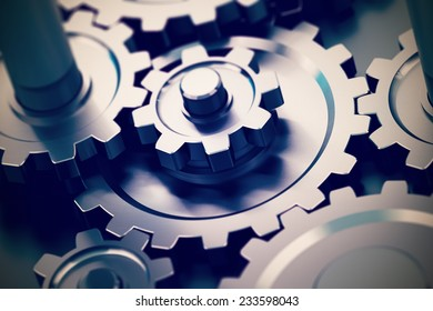 gear or cogwheel working together, movement transmission. Concept of teamwork