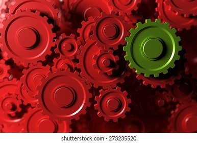 gear or cogwheel working together, movement transmission. Concept of teamwork or leader