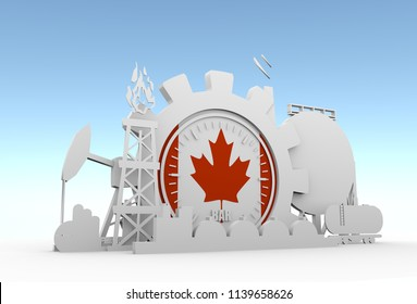 Gear with energy relative silhouettes. Design set of natural gas industry. Flag of the Canada. 3D rendering