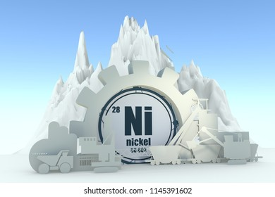 Gear with energy relative silhouettes. Design set of coal mining industry. Nickel chemical element. 3D rendering