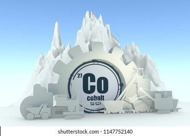 Gear with energy relative silhouettes. Design set of coal mining industry. Cobalt chemical element. 3D rendering