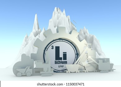 Gear with energy relative silhouettes. Design set of coal mining industry. Lithium chemical element. 3D rendering
