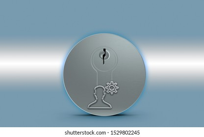 Gear Icon Idea symbol is over a metal keylock for opening a door against a metallic blue background. 3D rendering.