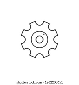 Gear Related Line Icon. Isolated on White Background.
