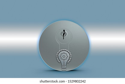 Gear symbol in light bulb is over a metal keylock for opening a door against a metallic blue background. 3D rendering.