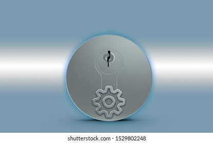 Gear symbol is over a metal keylock for opening a door against a metallic blue background. 3D rendering.