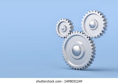Gear Symbols Teamwork Concept , 3d render