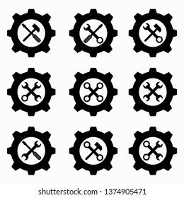 gear and wrenches black icons
