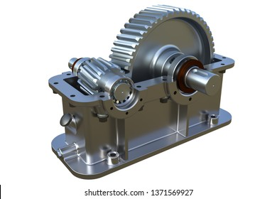 Gearbox on White Background 3D Rendering