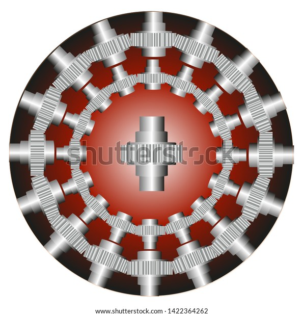 Geared steel shafts assembled in two circles and one large piece in the center.