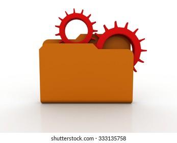 Gears in a blue folder. 3d illustration