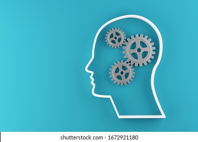 Gears cogwheels in human head shape over blue background - strategy, creative or business innovation modern minimal concept, 3D illustration